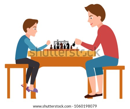 Father and son playing chess sitting on chairs at table vector illustration isolated on white. Fatherhood concept poster, dad spend free time with child