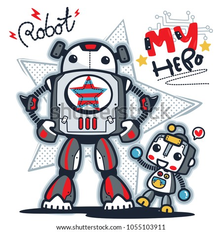 father and son robot cartoon