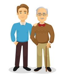 Father and son. Vector flat illustration