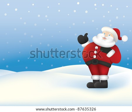 father christmas standing on snowy background
