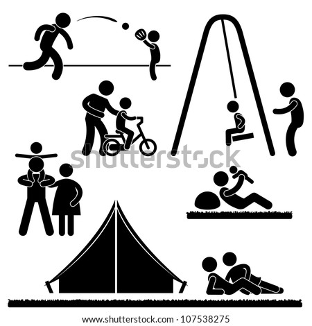 Father Dad Daddy Son Family Parent Parenthood Fatherhood Icon Symbol Sign Pictogram - stock vector