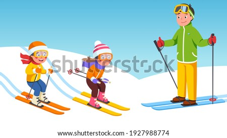 Father, daughter, son kids skiing together on snowy slopes. Happy children skiers cartoon characters sliding downhill in ski resort. Family enjoying winter holiday sport. Flat vector illustration Stock fotó ©