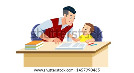 Father helps his son to do homework in school. He suggests how to do it right. They are in a good mood. Best Dad help baby to study. Isolated vector illustration in cartoon style