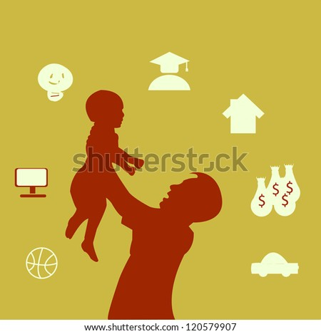 Father holding his child and planning for the future