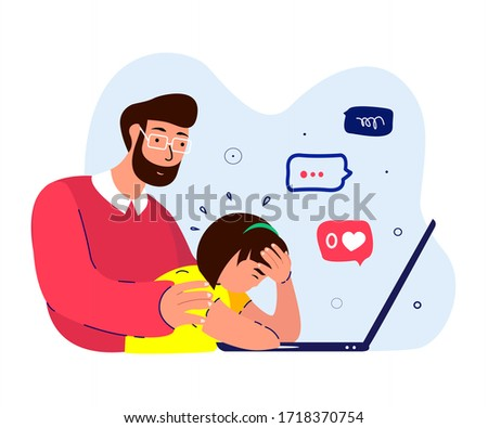 Father Hug Support,Maintain Disappointed Depressed Daughter.Teenager Girl,No Zero Like,Dislike.Worried, Sad Anxited Frustrated.Upset Stressed Adolescent.Dad Protect Teen Child.Flat Vector Illustration