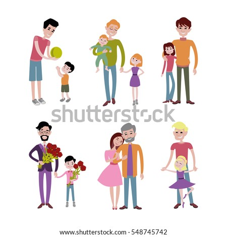 Father kids family son and daughter vector together  Father's day.  Mom dad and children characters fatherhood set illustration in a flat style isolated on white background