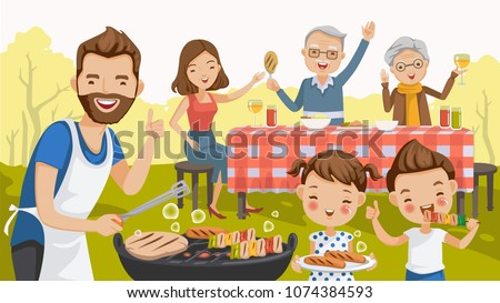 Father,mother,daughter,son,grandfather and grandmother, are barbecue in the nature of summer. big family.grilled meat,sausages, eat, drink. thumbs up,hand greetings,happy picnic,holiday travel. vector