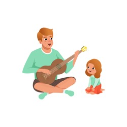 Father playing guitar music to his daughter, loving dad and kid spending time together vector Illustration on a white background