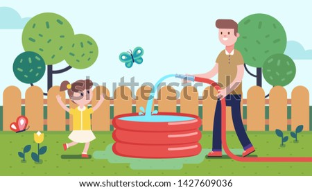 father pouring water into