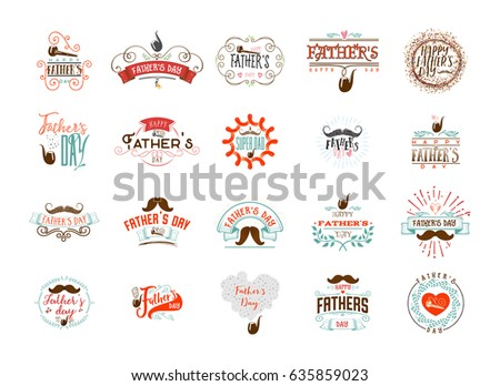 Father's Day badge design . Sticker, stamp, logo - handmade. With the use of typography elements, calligraphy and lettering