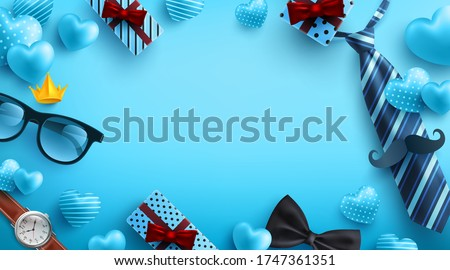 Father's Day blue background with flatlay of Glasses,Necktie,Watch and Gifts for dad. Greetings and presents for Father's Day.Promotion and shopping template for love dad concept