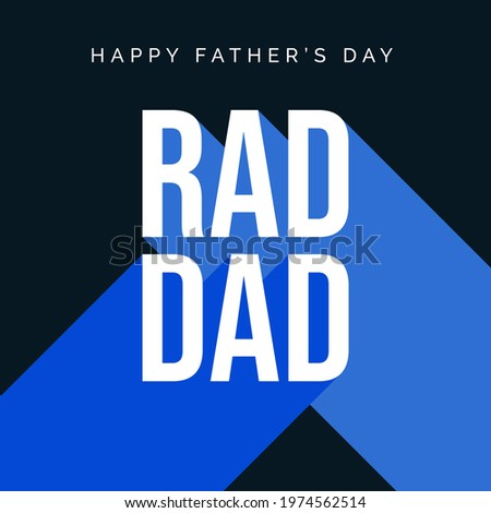 Father's Day Card Design Template. Rad Dad Greeting Card Vector for Fathers Day with Modern Typography. Square Banner Design Template with Rad Dad and Happy Father's Day Text for Social Media Post Zdjęcia stock ©