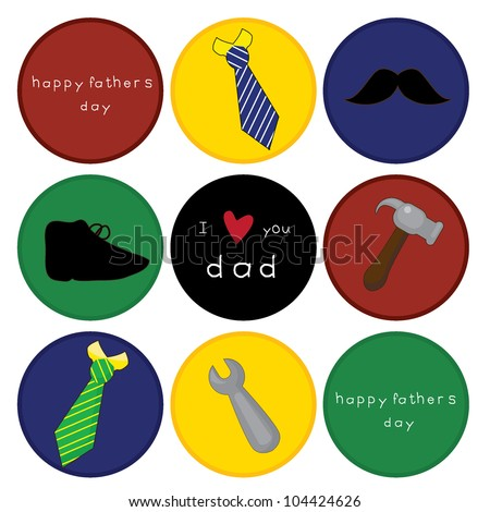 father's day card with icons objects represents father