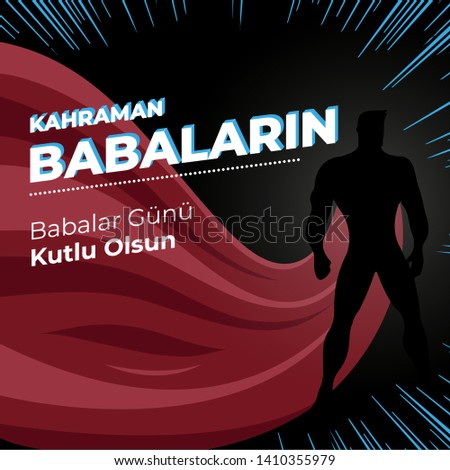 Father's Day Celebration Vector Design Hero Concept (Translation: Happy Father's Day to Hero Fathers)  Stok fotoğraf ©