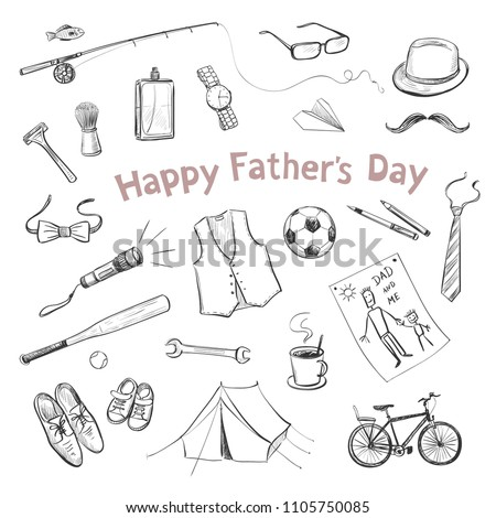 Father's Day. Collection of hand drawings of male accessories on white background Photo stock ©