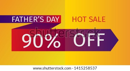 Father's Day Hot Sale Offer. Untied red tie with the inscription and percentage of discounts. 90% off. Vector template for banner promotion, advertising, flyer, invitation, poster, brochure, discount