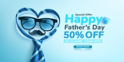 Father's Day Sale poster or banner template with glasses and heart shape by necktie on blue background.Greetings and presents for Father's Day.Promotion and shopping template for love dad