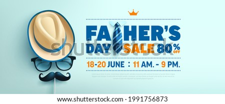 Father's Day Sale poster or banner template with symbol of Dad from hat,glasses and mustache.Greetings and presents for Father's Day in flat lay styling.Promotion and shopping template for love dad Stock fotó ©