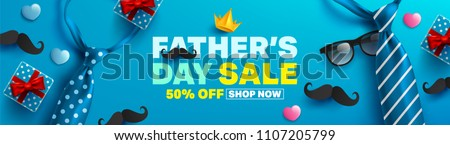 Father's Day Sale Promotion Poster or banner with open gift wrap paper concept.Promotion and shopping template for Father's Day.Vector illustration EPS10 - Shutterstock ID 1107205799