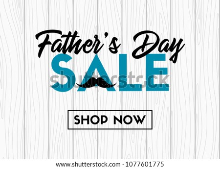 Father's day sale. Vector banner on wooden background