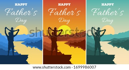 Father's Day vector illustration. Silhouettes of dad and children against a backdrop of an adventure landscape with mountains, rive and sky. Happy family men and boy outdoors. Traveling with children. Photo stock ©