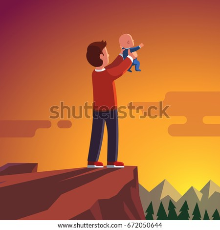 father standing on the mountain