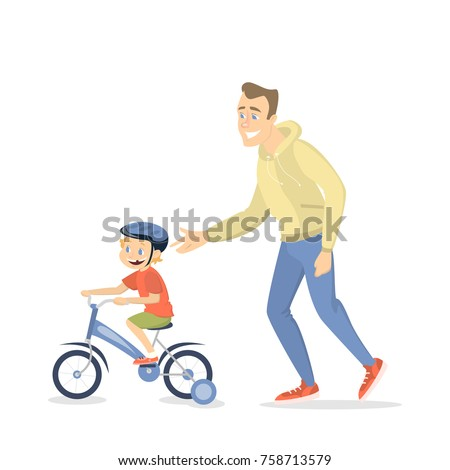 Father teaching boy to ride the bike on white background.