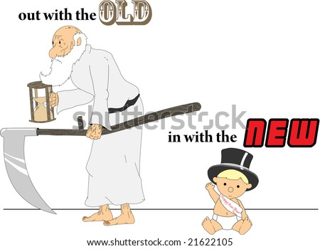 stock vector : Father Time and Baby New Years