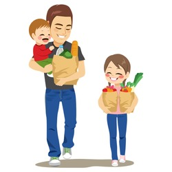 Father walking with kids holding baby boy and paper grocery bag full of vegetables water bread and helper daughter