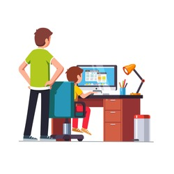 Father watching over shoulder son kid doing homework on desktop computer sitting at desk. Dad helping school boy. Flat style cartoon vector illustration isolated on white background.