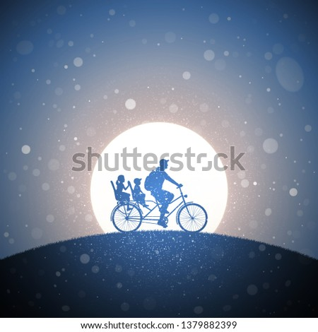 father with children on bicycle