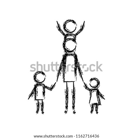 father with kids figure silhouette