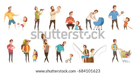 Fatherhood child-rearing shopping playing walking fishing with kids retro cartoon icons 2 banners set  isolated vector illustration