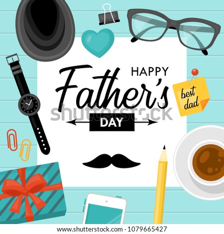 Fathers day concept with businessman desk objects. Vector illustration #1079665427