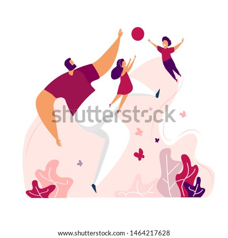 Fathers Day greeting card. Happy father playing footbal with his children. Sticker illustration. Bright flat style picture for blogs and social media, greeting cards, prints,flyers,leaflets, posters.