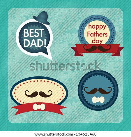 Fathers Day Icons and Cards ( Concepts) Vector illustration