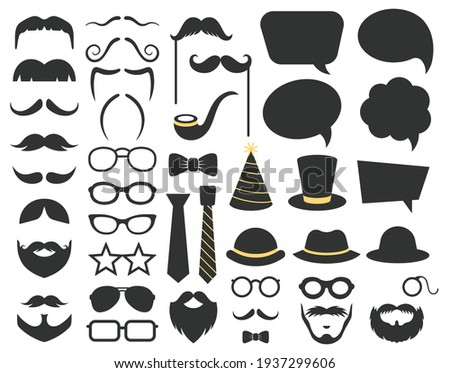 Fathers day photo booth props. Photo booth speech bubble, moustaches, glasses and beard props. Happy fathers day photo props decorations vector illustration set Foto d'archivio ©