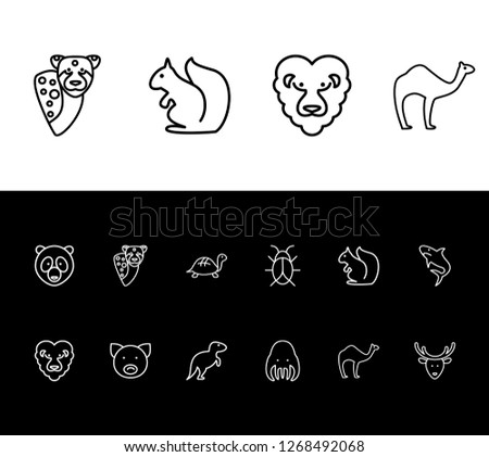 Fauna icon set and camel with cheetah, dinosaur and lion. Tentacle related fauna icon vector for web UI logo design.