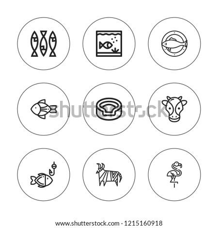 Fauna icon set. collection of 9 outline fauna icons with animal, aquarium, flamingo, fish icons. editable icons.