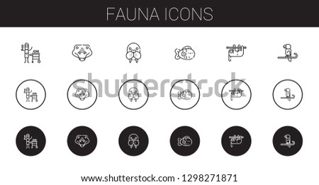 fauna icons set. Collection of fauna with fish, crocodile, walrus, sloth, parrot. Editable and scalable fauna icons.