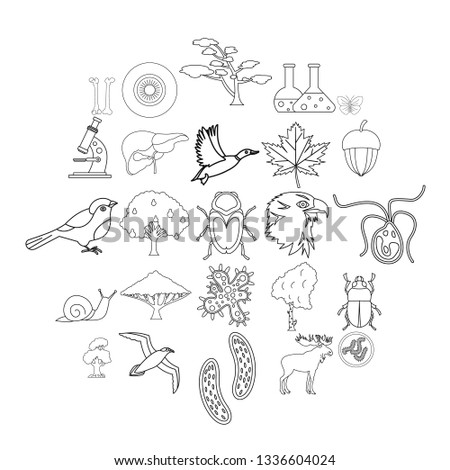 Fauna icons set. Outline set of 25 fauna vector icons for web isolated on white background
