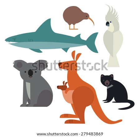 Fauna of Australia and New Zealand Icons set of vector animals isolated on white background Vector illustration of animal set including cockatoo Tasmanian devil kangaroo shark kiwi and koala