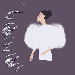Faux fur cape, smart, white - elegant woman - abstract background - vector. Winter clothes. Beauty Fashion Salon.