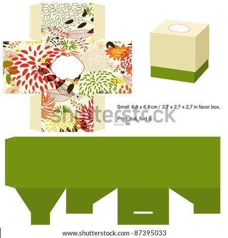 Favor box die cut. Floral pattern. Empty label. - stock vector