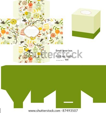 Favor box die cut. Nature pattern. Empty label.