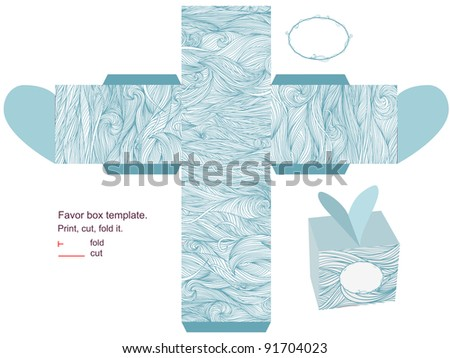 Favor box die cut. Waves pattern. Empty label. - stock vector