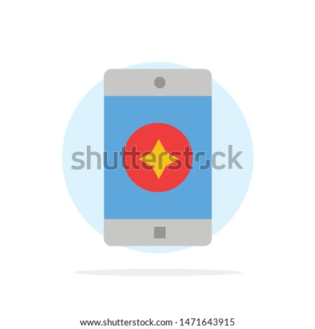 Favorite Mobile, Mobile, Mobile Application Abstract Circle Background Flat color Icon