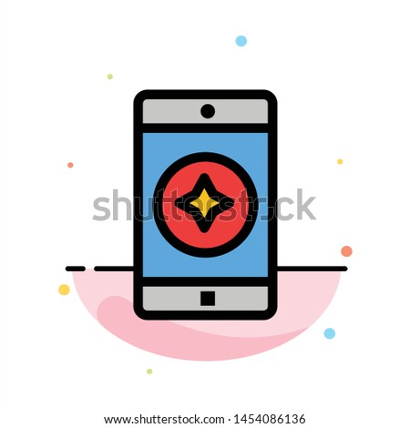 Favorite Mobile, Mobile, Mobile Application Abstract Flat Color Icon Template