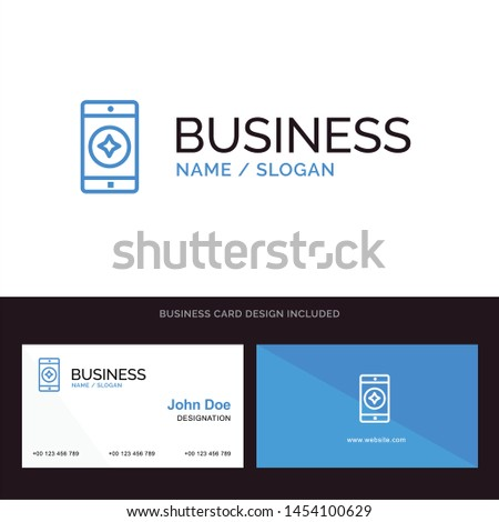 Favorite Mobile, Mobile, Mobile Application Blue Business logo and Business Card Template. Front and Back Design