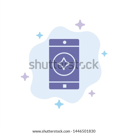 Favorite Mobile, Mobile, Mobile Application Blue Icon on Abstract Cloud Background